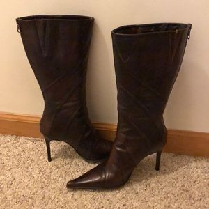 Aldo Brown Leather Pointed Toe Heeled Boots